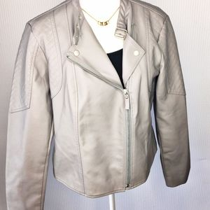 NWT Baccini Gray Faux Leather Moto Jacket Sz L